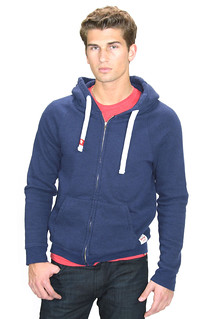 Triblend Zip-Up Hoodie Navy Blue