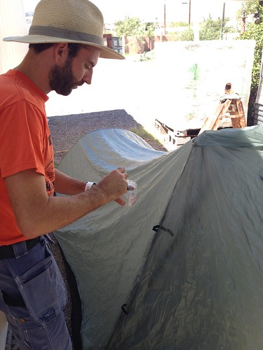 Sealing Our Tent Seams by mikey and wendy
