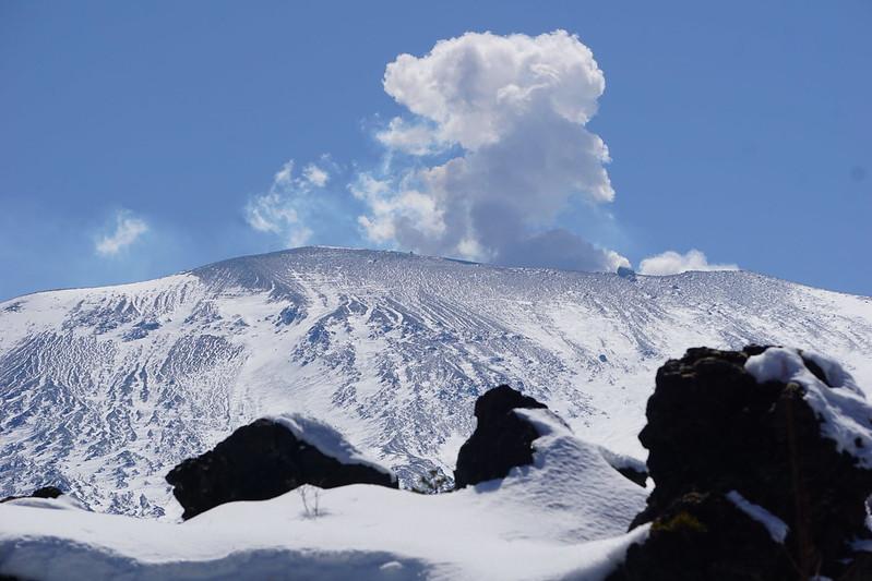 浅間山 snow mountain Mt. Asama is one of the most famous active volcanoes in JAPAN. Meg Oshima .