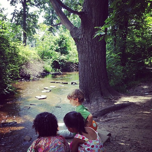 The kids and a creek