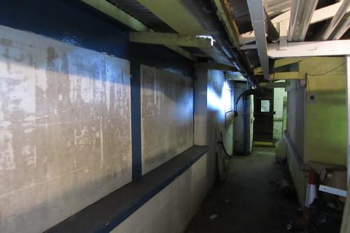 Empty stalls, Openshaw Market, Ogden Lane
