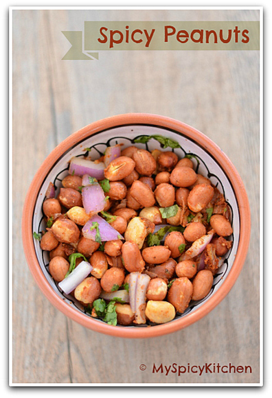 Microwave roasted spicy peanuts or peanuts salad in a bowl
