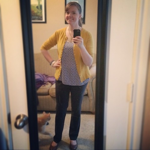 This #ootd needs to get me through a day of herding cats at work, so I'm depending on my new @StitchFix top! #sharpdressedlady #stitchfix I'm not 100% confident this matches/coordinates, but oh wells ;)
