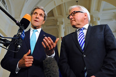 U.S. Secretary of State John Kerry address reporters with German Foreign Minister Frank-Walter Steinmeier in Vienna, Austria, on July 13, 2014, amid a series of P5+1 talks with Iran about its nuclear program. [State Department photo/ Public Domain]