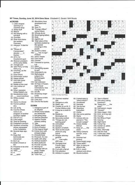 NYT Sunday Puzzle - June 22, 2014