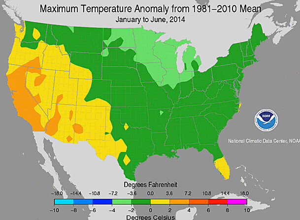 Maximum temperature anomaly from 1981-2010 mean United States