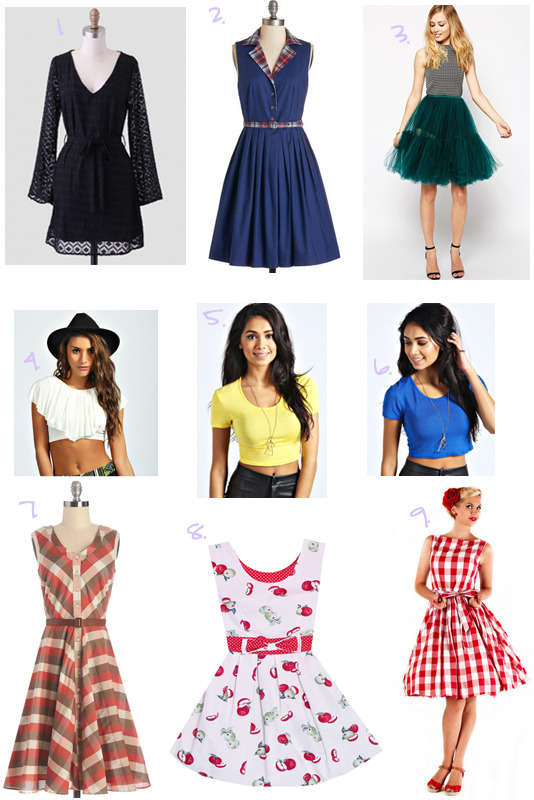 July-Wishlist, modcloth, ruche, asos, asos skirt, tulle skirt, asos tulle skirt, plaid to see you dress, myrtlewood, beacon of charm dress in plaid, plaid dress, crop tops, boohoo, ruche dress, lindy bop dress, gingham dress, red gingham dress, picnic dress, lindy bop, apple dress, apple print dress, bonne chance, bonne chance dress