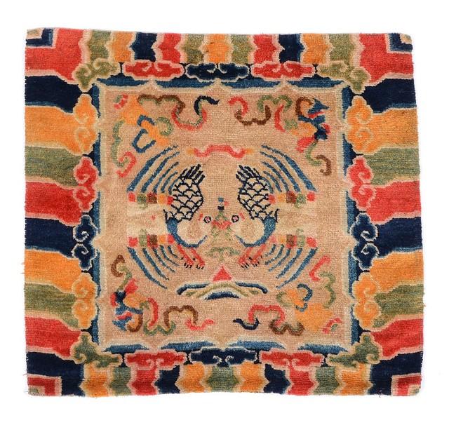 Antique Tibetan Rug: Antique Tibetan Phoenix Prayer Rug