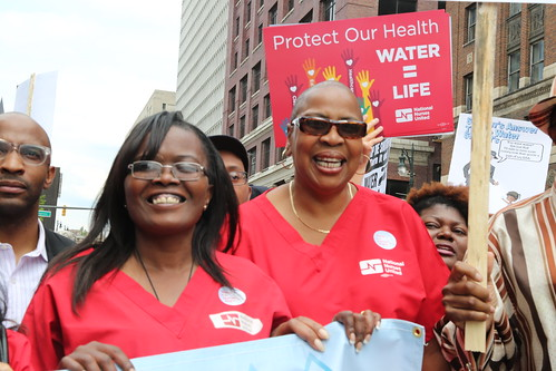 RNs at the detroit water march