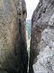 Hängebrücke Blick nach unten Pisciadù Klettersteig