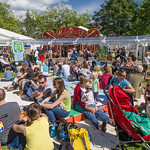 Busy Charlotte Square Gardens at the 2014 Edinburgh International Book Festival |