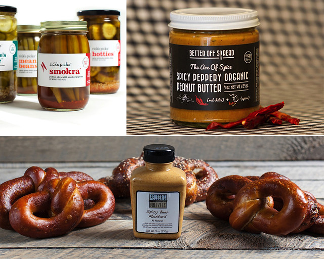 Rick's Picks (top left). Better Off Spread (top right); photo by Luke Barber-Smith. Pelzer's Pretzels (bottom); photo by Good Eggs.