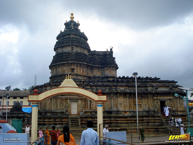A view of Vidyashankara Temple from above the Vidyatheertha Bridge, in Sringeri, Chikkamagalur district, Karnataka, India