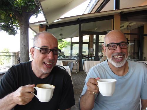 the kreloff boys enjoy a coffee