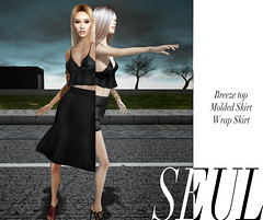 // SEUL \\ Denim Wrap Skirt, Breeze Top, and Molded Skirt