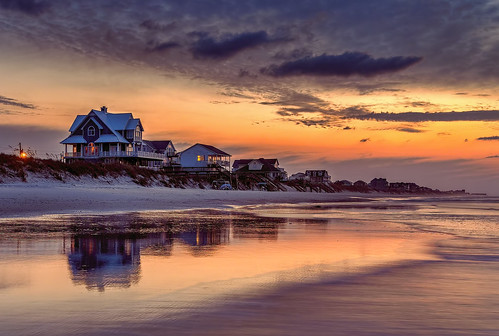 ocean morning color beach sunrise dawn day shot cloudy pastel north shore carolina topsail partly