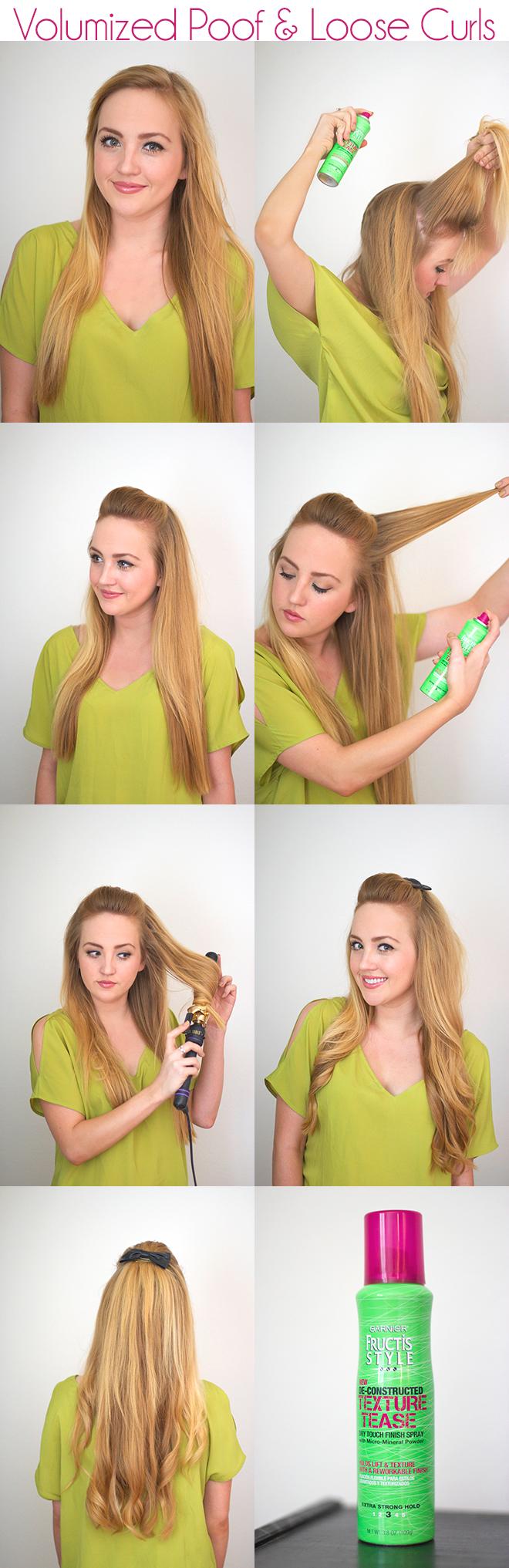 hairstyle using garnier fructis texture tease spray
