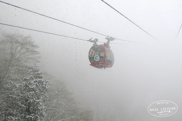 Hakone Tozan Ropeway in snow, Kanagawa, Japan