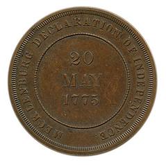 Mecklenburg declaration of independence centennial medal reverse