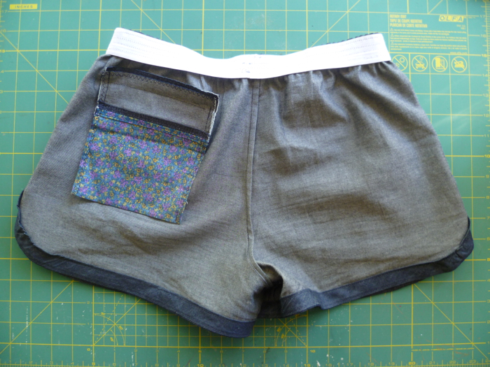 Denim Tunic to Prefontaine Shorts Refashion inside back by Hey, it's SJ