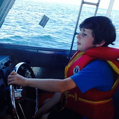 Driving a boat