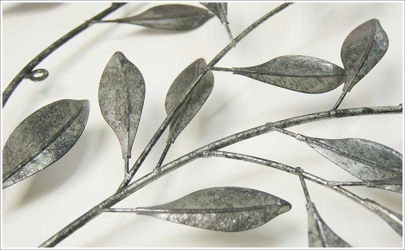 壁饰— 立体感金属银灰色树叶叶片叶子锻铁壁饰(小) 墙面装饰【生活