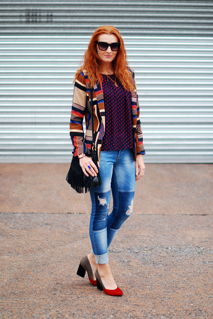 Autumnal style pattern mixing with patchwork denim