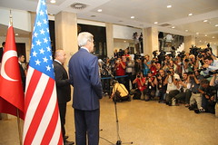 U.S. Secretary of State John Kerry delivers remarks to the press with Turkish Foreign Minister Mevlut Cavusoglu in Ankara, Turkey on September 12, 2014. [State Department photo/ Public Domain]