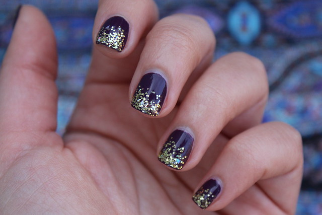Dark Plum Manicure with Gold Glitter | Fall Nails | #LivingAfterMidnite