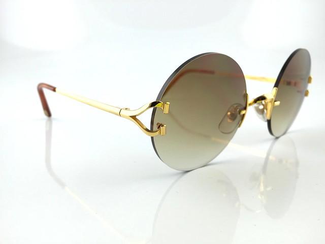 occhiali cartier c decor round gold vintage sunglasses. Black Bedroom Furniture Sets. Home Design Ideas
