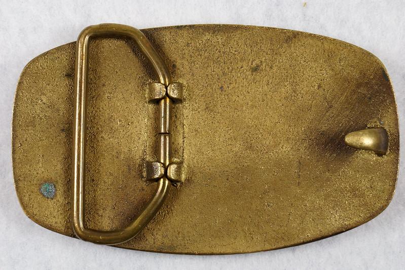RD15316 Vintage Eskimo Pie Brand Brass Belt Buckle Advertising DSC09218