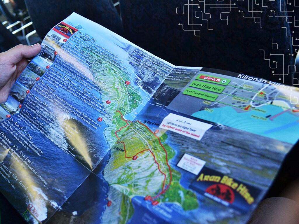 Mapa de uma das Aran Island, uma ilha maravilhosa no condado de Galway