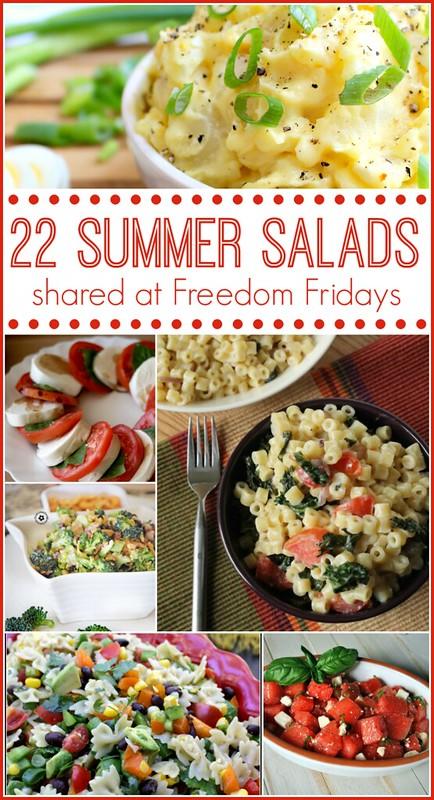 22 Summer Salads shared at Freedom Fridays.