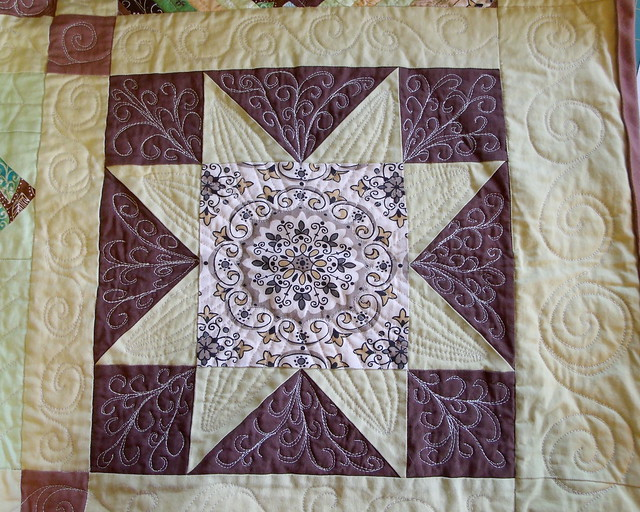 Sawtooth Star block - quilted