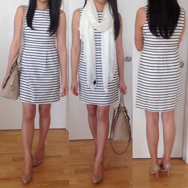 Striped Linen Cotton Sheath Dress