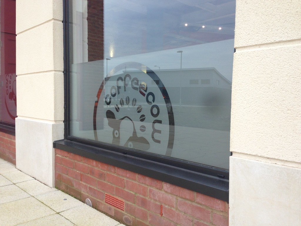 Frosted window graphics in etched effect vinyl