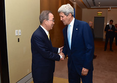 U.S. Secretary of State John Kerry shakes hands with United Nations Secretary-General Ban Ki-moon in Cairo, Egypt, on July 24, 2014, before the two sat down to discussion regional and international efforts to create a cease-fire between Israeli and Hamas forces in the Gaza Strip. [State Department photo/ Public Domain]