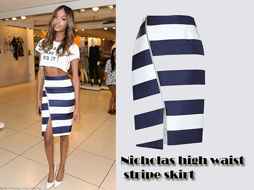 Nicholas high waist stripe skirt with a crop top: Casual wear