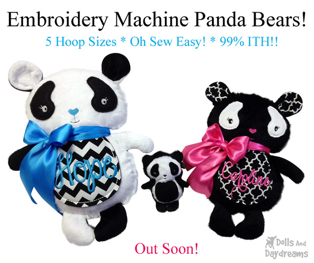 Panda Bear ITH Embroidery Machine Pattern
