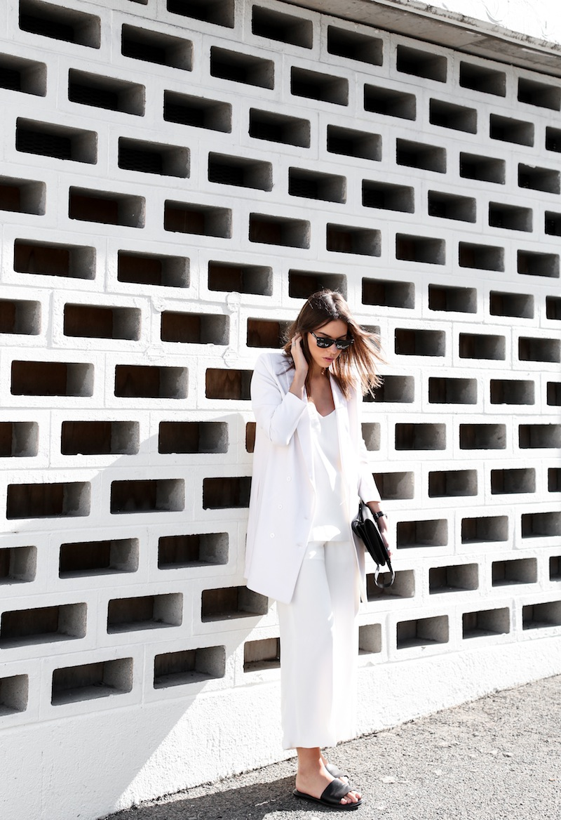 modern legacy fashion white on white street style blog Rodebjer Theyskens Theory wide culottes Camilla and Marc Zoya cami top Common Projects leather slide sandals Alexander Wang Prisma envelope clutch bag outfit work office wear (5 of 12)