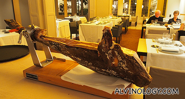 A whole leg of iberico ham