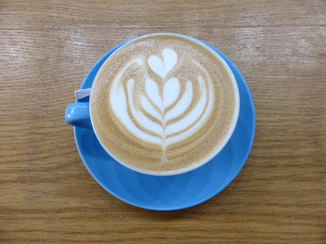 Latte art at Prufrock Coffee