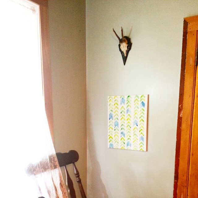 Beautifying a corner of the kitchen with a quick fun #watercolor and #stag antlers from a German flea market. #art #homemaking