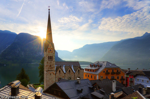 old morning vacation lake church beautiful sunrise austria amazing europe village view historic unesco picturesque unescoworldheritage oberösterreich autriche saltmines salzkammergut 奥地利 hallstättersee lakehallstatt skyfreezer