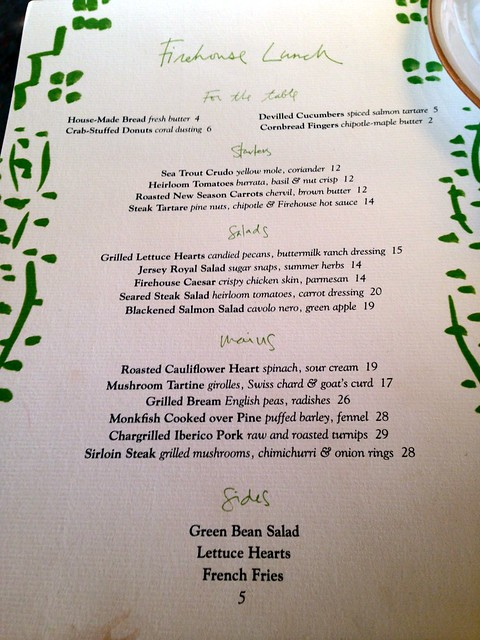 Chiltern Firehouse: Lunch menu