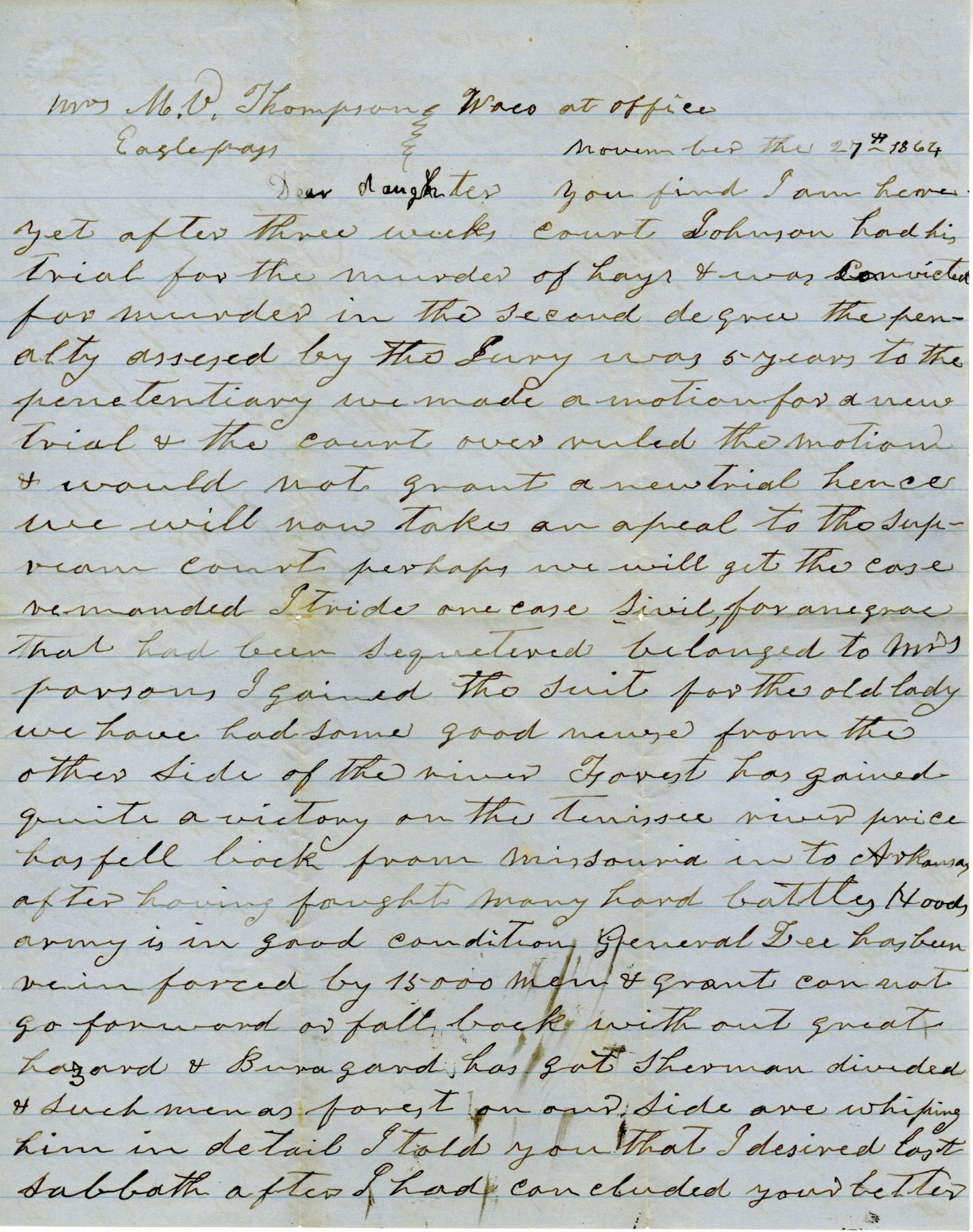 Letter from Richard N. Goode to Mary Virginia Thompson, dated November 27, 1864