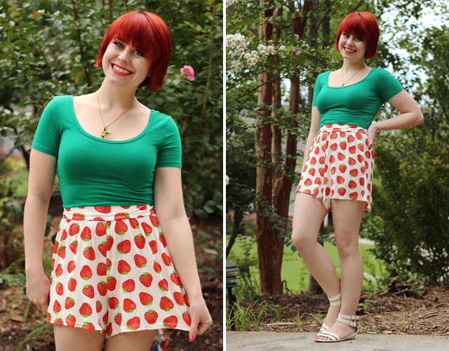 Strawberry Print Shorts with a Green Crop Top and White Sandals
