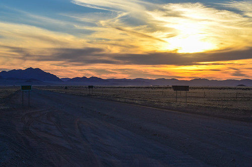 Sunset on the desert gravel roads, Namibia
