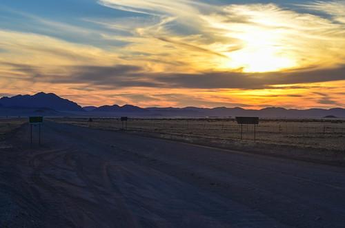 Sunset on the desert gravel roads, Namibia