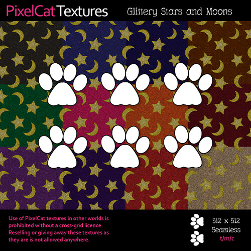 PixelCat Textures - Glittery Stars and Moons